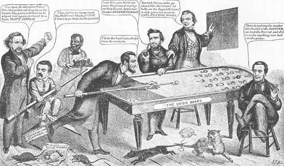 Karikatur af Abraham Lincoln der spiller Bagatelle
