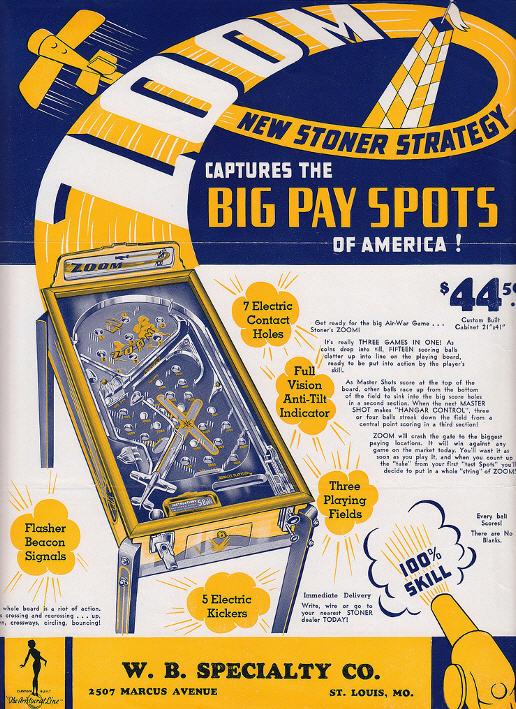 Pinball reklame fra 1934
