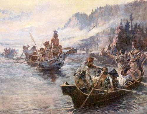 Lewis and Clark på vej op ad Lower Columbia
