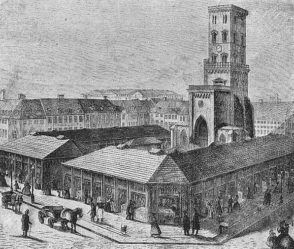 Nikolai plads med tårn og slagterboder omkring 1850