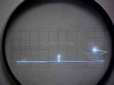 Skærmen fra Higinbotham tennisspil - nettet er i midten