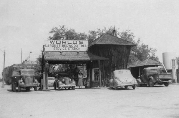 En tankstation i stammen fra et redwoodtræ