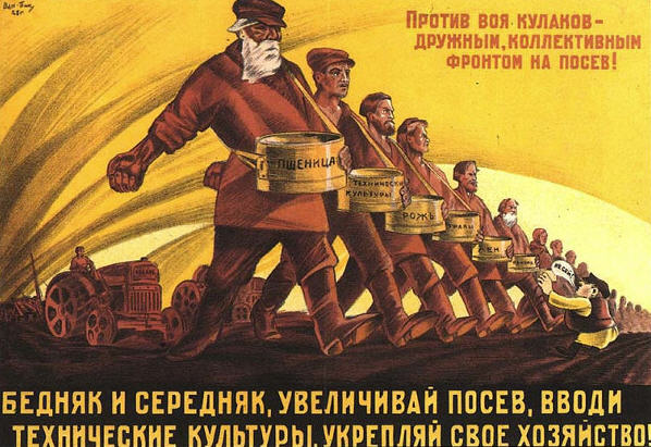 Soviet collective farmers against capitalism!
