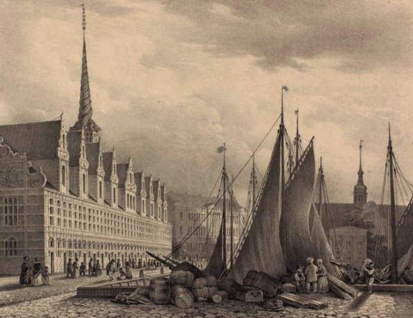 Fragtskibe fortøjret langs børsgraven i 1800tallet